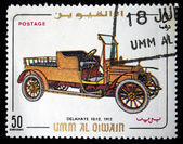 UMM AL QIWAIN - CIRCA 1968: A stamp printed in one of the emirates in the United Arab Emirates shows vintage car Delahaye 10-12 - 1912 year, full series - 48 of stamps, circa 1968 — Stock Photo
