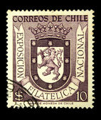 CHILE - CIRCA 1950s: A stamp printed in Chile devoted to the national philatelic exhibition, circa 1950s — 图库照片