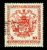 CHILE - CIRCA 1958: A stamp printed in Chile devoted to the sixth centenary of the foundation of Osorno shows coat of arms, circa 1958 — Foto Stock