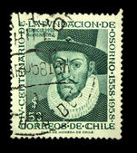 CHILE - CIRCA 1958: A stamp printed in Chile devoted to the sixth centenary of the foundation of Osorno shows Garsia de Mendosa, circa 1958 — Stock Photo