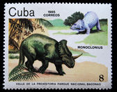 CUBA - CIRCA 1985: A stamp printed in Cuba shows Monoclonius, series devoted to prehistoric animals, circa 1985 — Stock Photo