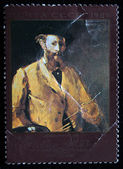 "USSR - CIRCA 1983: A stamp printed in the USSR shows draw by artist Edouard Manet - ""Self-portrait with palette"", circa 1983 — Stock Photo"