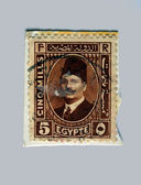 EGYPT - CIRCA 1936: A stamp printed in Egypt shows a portrait of Sultan and King Fuad I, circa 1936 — Stock Photo