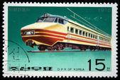 DPR KOREA - CIRCA 1976: A stamp printed by DPR KOREA (North Korea) shows electric locomotive, circa 1976 — Stock Photo