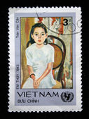 VIETNAM - CIRCA 1980s: S stamp printed in Vietnam shows draw by artist Tran Van Can portrait of his granddaughter Em Thuy (1943), circa 1980s — Stock Photo