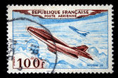 FRANCE - CIRCA 1965: a stamp printed by France show the fighter Mistere IV, series, circa 1965 — Stock Photo