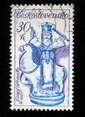 CZECHOSLOVAKIA - CIRCA 1951: A stamp printed in Czechoslovakia shows Janosik on Horseback by Jozef Franko, circa 1951 — Foto Stock