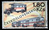 CZECHOSLOVAKIA - CIRCA 1969: a stamp printed by Czechoslovakia shows old buses, circa 1969 — ストック写真
