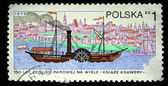 POLAND - CIRCA 1979: A stamp printed in the Poland shows first steame vessel on Wisla river, circa 1979 — Stock fotografie