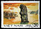 VIETNAM - CIRCA 1985: A stamp printed in Vietnam shows fishing boats in the Gulf of Tonkin, circa 1985 — Stock Photo