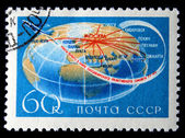 USSR - CIRCA 1968: A stamp printed in the USSR shows flight routes the worlds first passenger jet TU-114, series, circa 1968 — Stock Photo