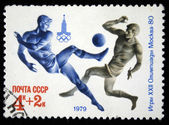 USSR - CIRCA 1979: A stamp printed in USSR, Olympic games Moscow 1980 soccer football, circa 1979 — Stock Photo