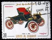 UMM AL QIWAIN - CIRCA 1968: A stamp printed in one of the emirates in the United Arab Emirates shows vintage car Ford A - 1903 year, full series - 48 of stamps, circa 1968 — Stock Photo