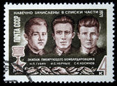 USSR - CIRCA 1971: A stamp printed in the USSR devoted to forever enrolled in the lists of the military unit crew dive bomber Heroes of the Soviet Union Gubin, Chernykh, Kosinov, circa 1971 — Stock Photo