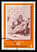 "BULGARIA - CIRCA 1970s: A stamp printed in the bulgaria shows engraving of artist Francisco Goya ""Tantalus"", circa 1970s — ストック写真"