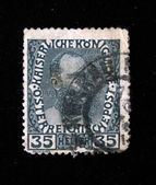 AUSTRIA - CIRCA 1878: Austrian postage stamp showing Franz Joseph I of Austria, circa 1878 — Stock Photo