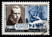USSR - CIRCA 1961: A stamp printed by USSR shows Fridtjof Nansen, circa 1961 — Zdjęcie stockowe