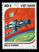 VIETNAM - CIRCA 1988: A stamp printed in Vietnam shows futuristic spaceship, circa 1988 — Stock Photo