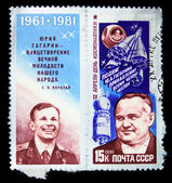 USSR - CIRCA 1981: A stamp printed in the USSR shows Yury Gagarin and Sergey Koroliov, circa 1981 — Stock Photo
