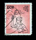 DDR - CIRCA 1975: A stamp printed in DDR (East Germany) devoted Children and Youth sports day , circa 1975 — Stock Photo