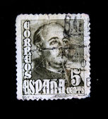 SPAIN - CIRCA 1948: A stamp printed in Spain shows General Franco, circa 1948 — Stock Photo