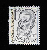 CZECHOSLOVAKIA - CIRCA 1981: A stamp printed in Czechoslovakia shows George Bernard Shaw, circa 1981 — Stock Photo