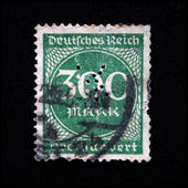 GERMAN EMPIRE - CIRCA 1931: German postage stamp with the sign 300 mark in the center, circa 1931 — Stock Photo