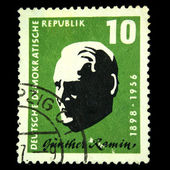 DDR - CIRCA 1957: A stamp printed in DDR (East Germany) shows Gunter Ramin - Conductor, Organ, Thomaskantor, circa 1957 — Zdjęcie stockowe