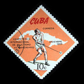 CUBA - CIRCA 1965: A Stamp printed in Cuba shows competition in Hammer throw, circa 1965 — Stock Photo