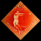 HUNGARY - CIRCA 1952: A stamp printed in Hungary shows hammer thrower, circa 1952 — Стоковое фото