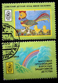USSR - CIRCA 1989: A stamp printed in the USSR shows children draw of hen with two chicks, series devoted to Sovet Children Fund, circa 1989 — Foto Stock