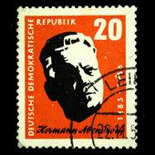 Ddr-大约 1957年: ddr (东德) 中打印戳记表明,hermann abendroth,大约 1957年 — 图库照片