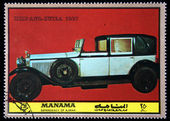 MANAMA (AJMAN) - CIRCA 1972: A stamp printed in emirate Bahrain of the United Arab Emirates shows car Hispano-Suiza - 1927, series, circa 1972 — Stock Photo