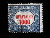 Hungria - circa de 1900: húngaro selo com o número 1000, no centro, circa de 1900 — Fotografia Stock