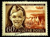 Maďarsko - cca padesátých let: razítka v Maďarsku ukazuje maďarského pionýrů, kolem roku 1950 — Stock fotografie