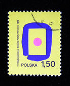 POLAND - CIRCA 1978: A stamp printed in the Poland devoted international biennial of the poster, Warsaw, circa 1978 — 图库照片