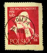 POLAND - CIRCA 1958: A stamp printed in Poland shows Jan Amos Komenski, circa 1958 — Stock Photo