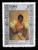 "CUBA - CIRCA 1987: A stamp printed in Cuba shows draw by artist Joaquin Sorolla ""Gypsy"", circa 1987 — ストック写真"