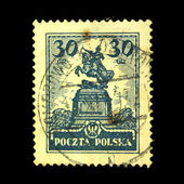 POLAND - CIRCA 1925: A stamp printed in Poland shows monument of John Sobieski, Warsaw, circa 1925 — ストック写真