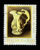 POLAND - CIRCA 1981: Stamp printed in Poland shows jug with a handle in the form of a dog, circa 1981 — Foto Stock