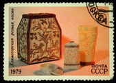 USSR - CIRCA 1979: A stamp printed in the USSR shows Kholmogory bone carvings, circa 1979 — Stock Photo