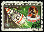 MONGOLIA - CIRCA 1982: A stamp printed in Mongolia shows Laika - first dog in space, circa 1982 — Stock Photo
