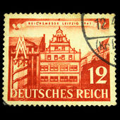 GERMANY - CIRCA 1941: A stamp printed by Germany (Deutsche reigh) in the memory of National exhibition and shows view of Leipzig circa 1941 — Stockfoto