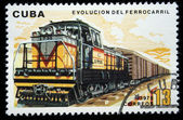 CUBA - CIRCA 1975: A stamp printed in Cuba shows vintage train, circa 1975 — 图库照片