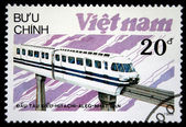 VIETNAM - CIRCA 1988: A stamp printed in Vietnam shows locomotive Hitachi-Aleg produced in Japan, circa 1988 — Stock Photo
