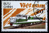 VIETNAM - CIRCA 1988: A stamp printed in Vietnam shows locomotive KIHA-80 produced in Japan, circa 1988 — Stock Photo