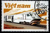 VIETNAM - CIRCA 1988: A stamp printed in Vietnam shows locomotive LRS produced in Canada, circa 1988 — Stock Photo