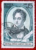 USSR - CIRCA 1988: Lord Byron. Vintage Soviet post stamp with Scotish poet George Gordon Byron, circa 1988 — Photo