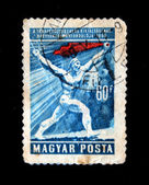 HUNGARY - CIRCA 1958: A stamp printed in Hungary shows man with red flag, circa 1958 — Stock Photo