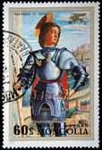 "MONGOLIA - CIRCA 1972: A stamp printed in Mongolia shows draw ""Saint George"" by Mantegna, circa 1972 — Foto Stock"